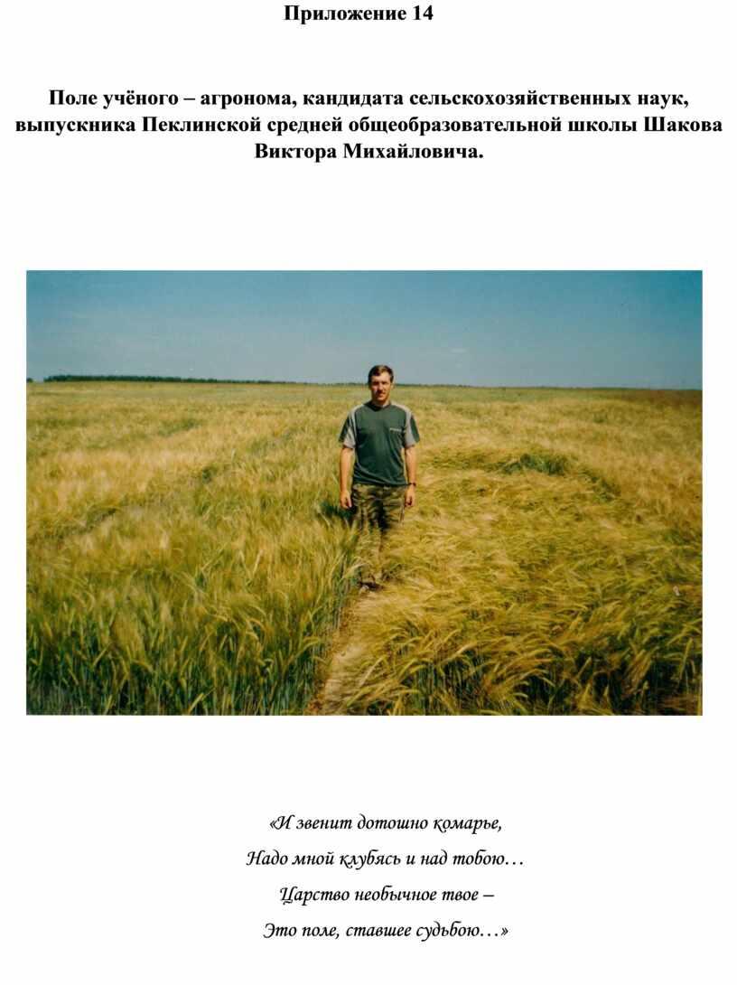 Приложение 14 Поле учёного – агронома, кандидата сельскохозяйственных наук, выпускника