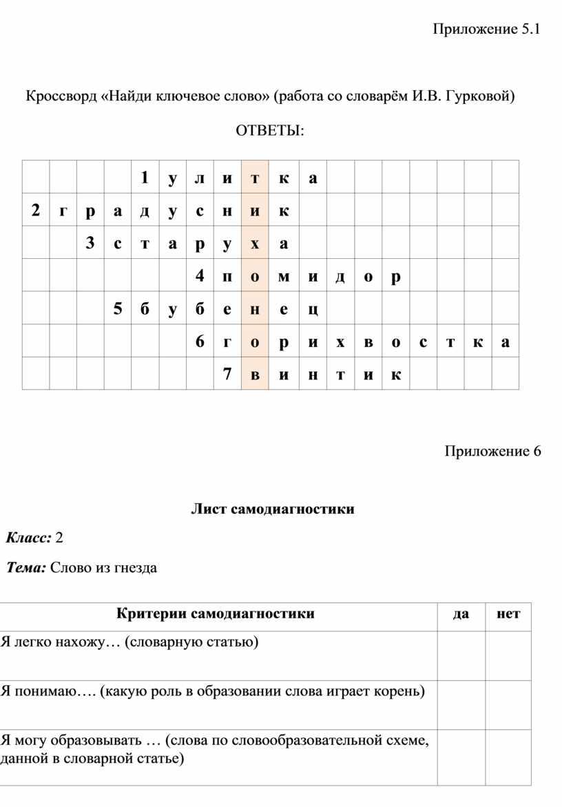 Приложение 5.1 Кроссворд «Найди ключевое слово» (работа со словарём