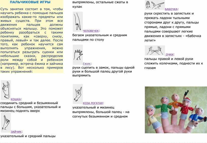 ПАЛЬЧИКОВЫЕ ИГРЫ Суть занятия состоит в том, чтобы научить ребенка с помощью пальцев изображать какие-то предметы или живых существ