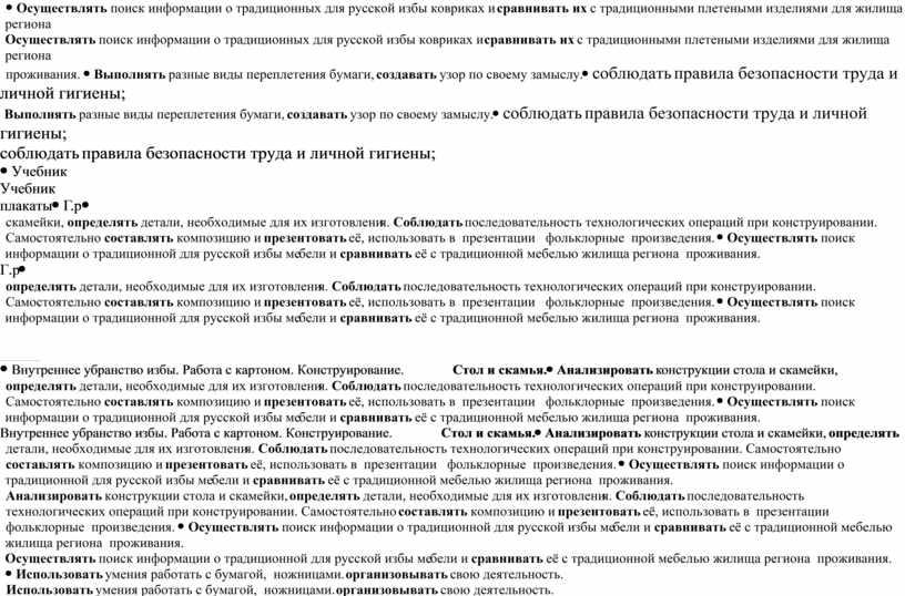 Осуществлять поиск информации о традиционных для русской избы ковриках и сравнивать их с традиционными плетеными изделиями для жилища региона проживания