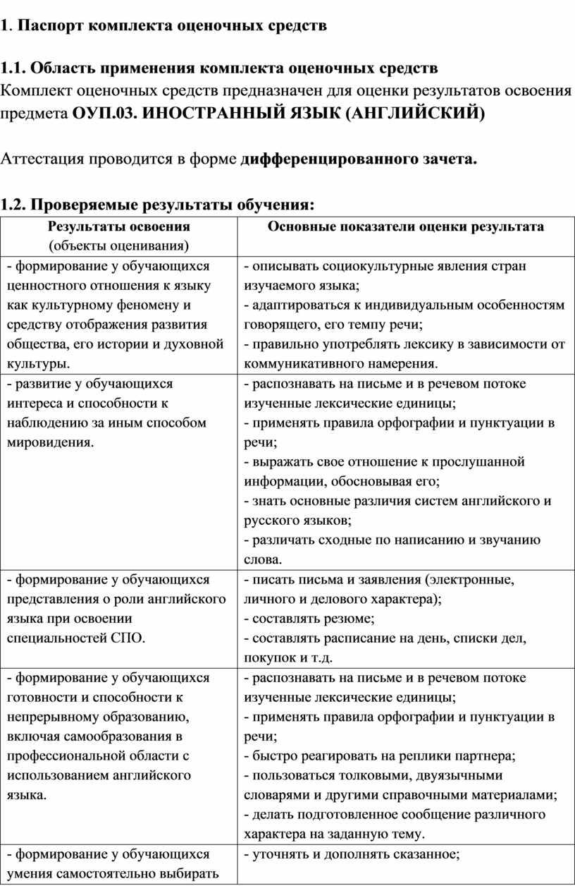 Паспорт комплекта оценочных средств 1