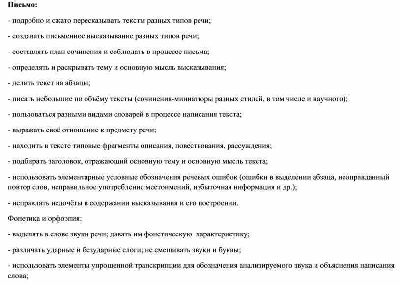 Письмо: - подробно и сжато пересказывать тексты разных типов речи; - создавать письменное высказывание разных типов речи; - составлять план сочинения и соблюдать в процессе…