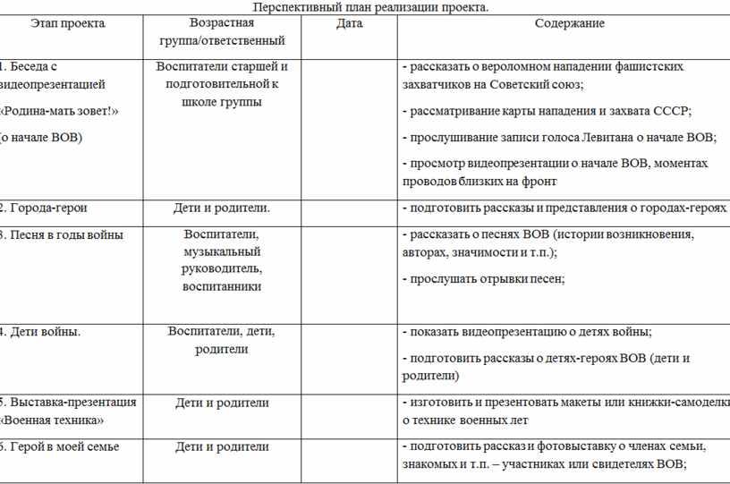 Перспективный план реализации проекта