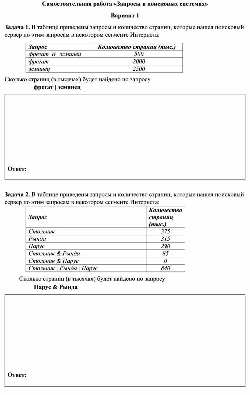 Самостоятельная работа «Запросы в поисковых системах»