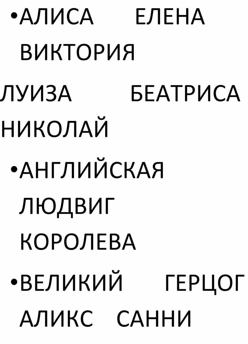АЛИСА ЕЛЕНА ВИКТОРИЯ