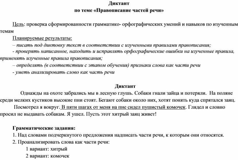Диктант по теме «Правописание частей речи»