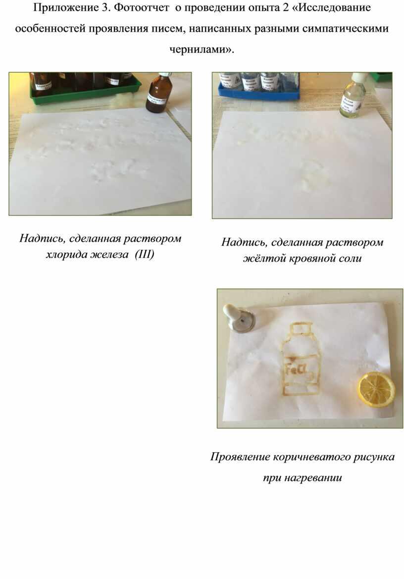 Приложение 3. Фотоотчет о проведении опыта 2 «