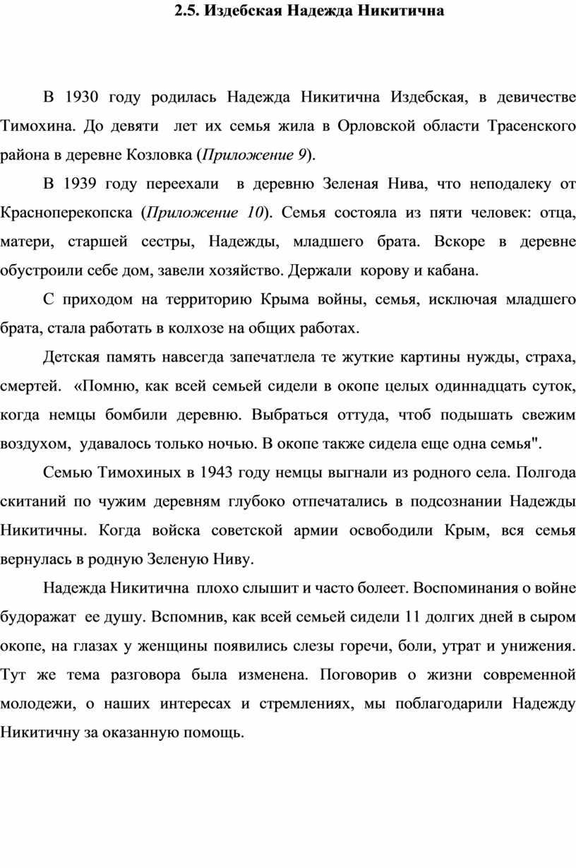 Издебская Надежда Никитична