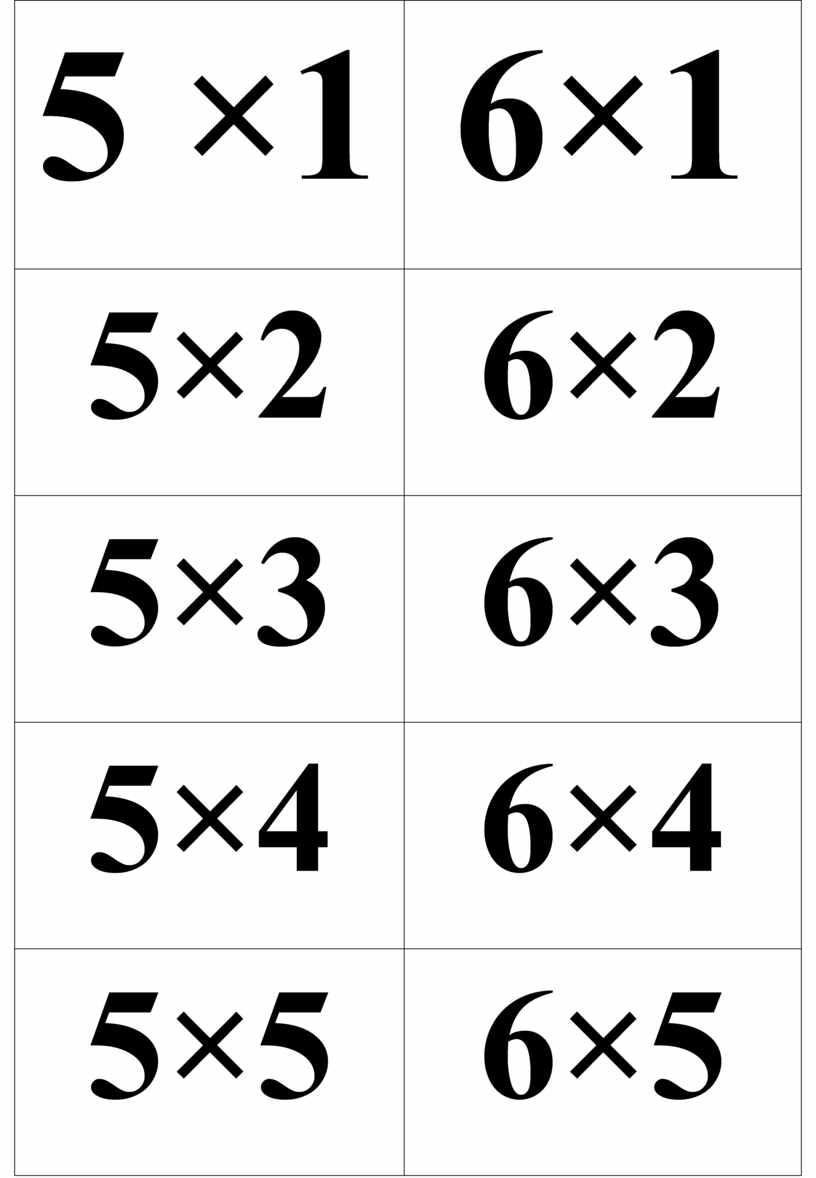 5 ×1 6×1 5×2 6×2 5×3 6×3 5×4 6×4 5×5 6×5 5×6 6×6