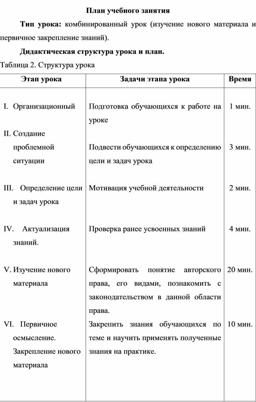 План учебного занятия Тип урока: комбинированный урок (изучение нового материала и первичное закрепление знаний)