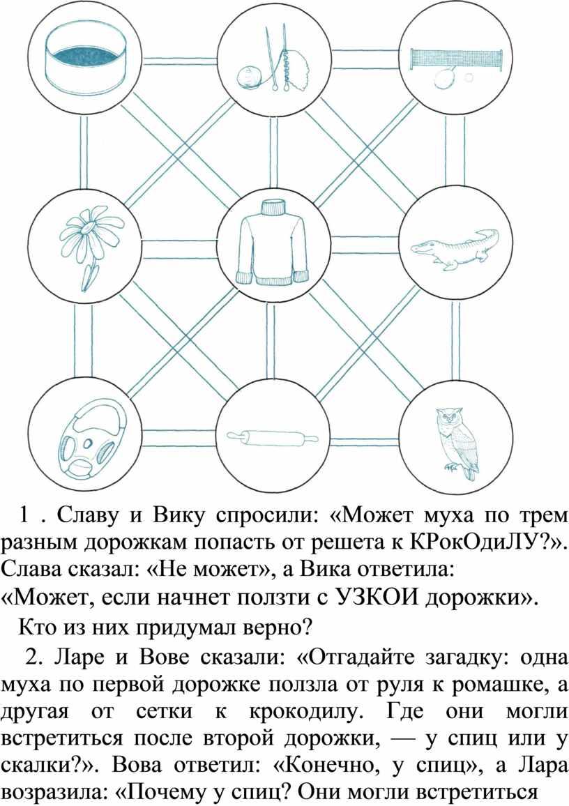 Славу и Вику спросили: «Может муха по трем разным дорожкам попасть от решета к