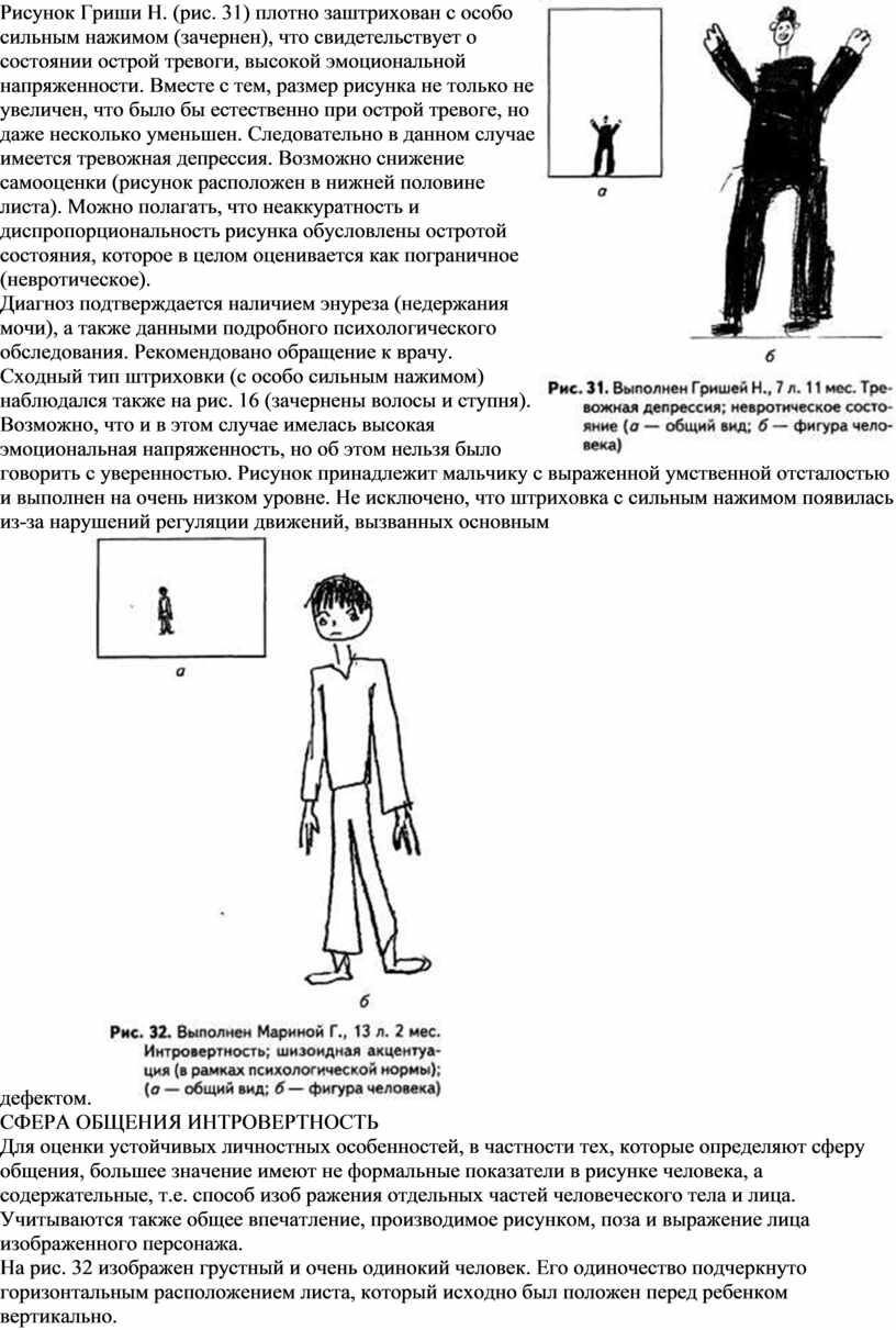 Рисунок Гриши Н. (рис. 31) плотно заштрихован с особо сильным нажимом (зачернен), что свидетельствует о состоянии острой тревоги, высокой эмоциональной напряженности