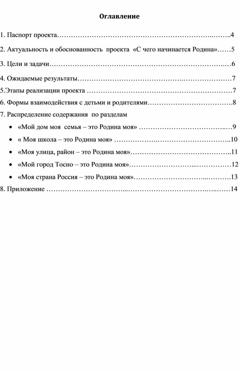 Оглавление 1. Паспорт проекта…………………………………………………………