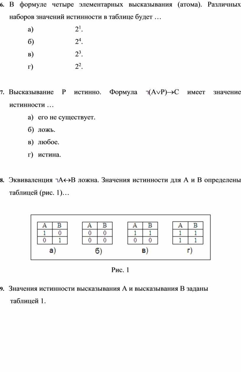 В формуле четыре элементарных высказывания (атома)