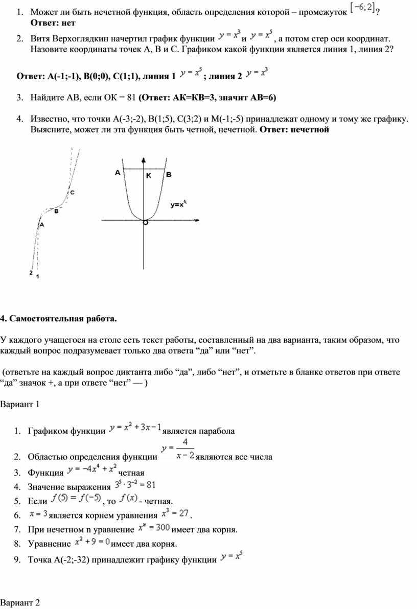 Может ли быть нечетной функция, область определения которой – промежуток ?