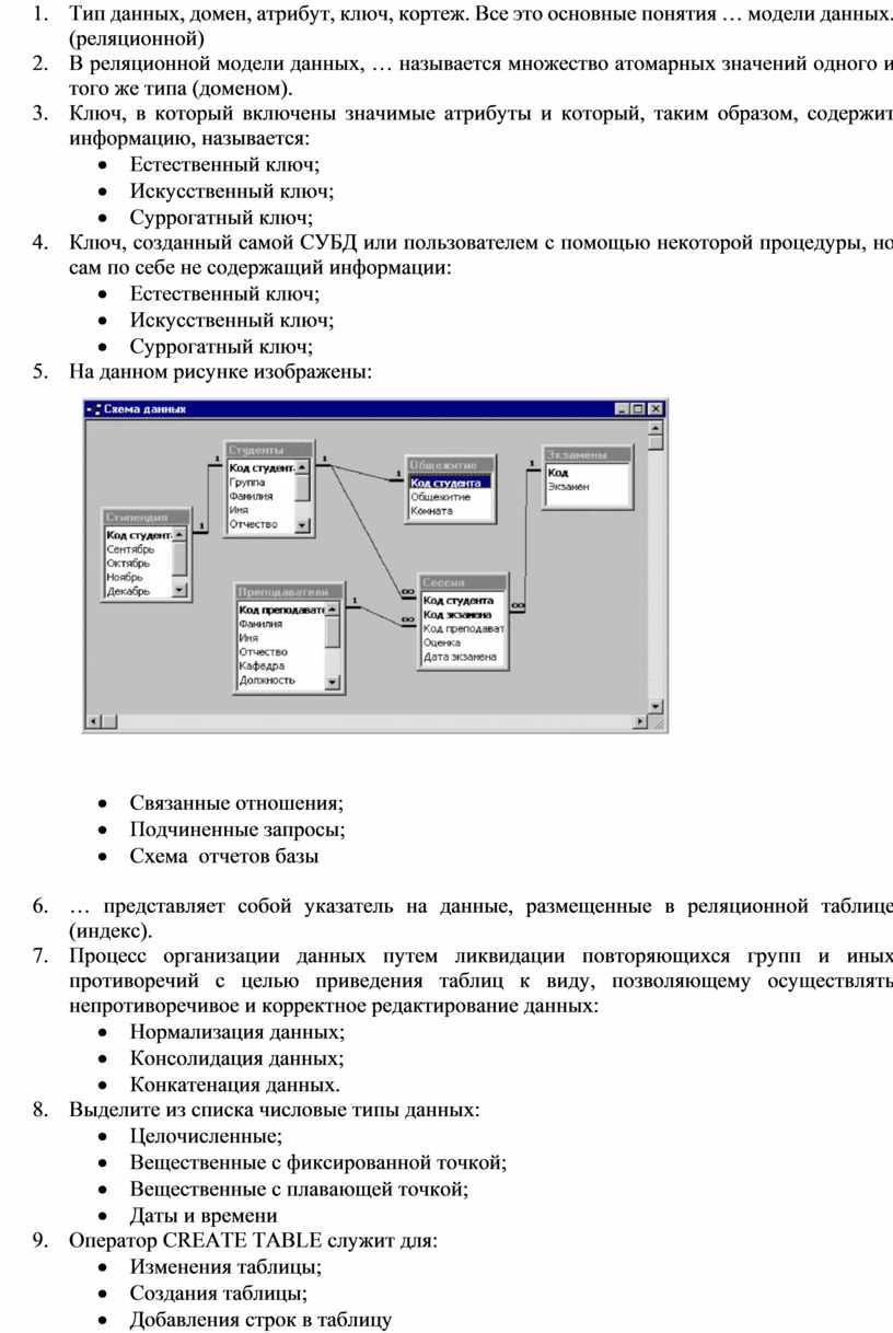 Тип данных, домен, атрибут, ключ, кортеж