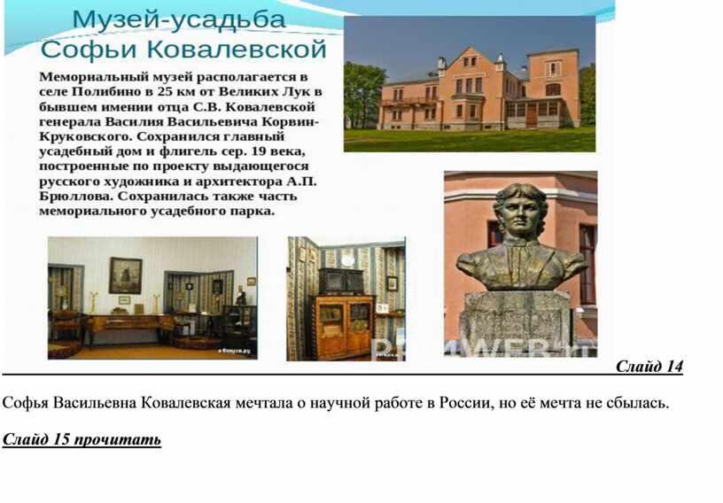 Слайд 14 Софья Васильевна Ковалевская мечтала о научной работе в