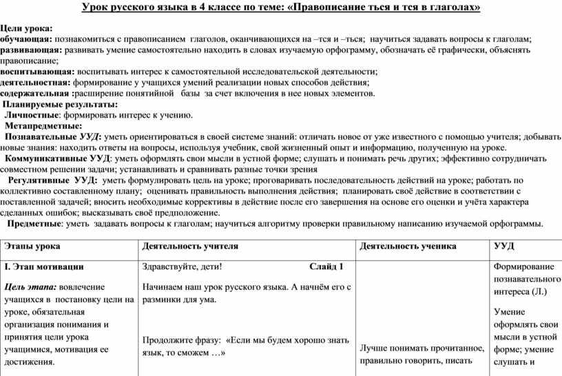 Урок русского языка в 4 классе по теме: «Правописание ться и тся в глаголах»