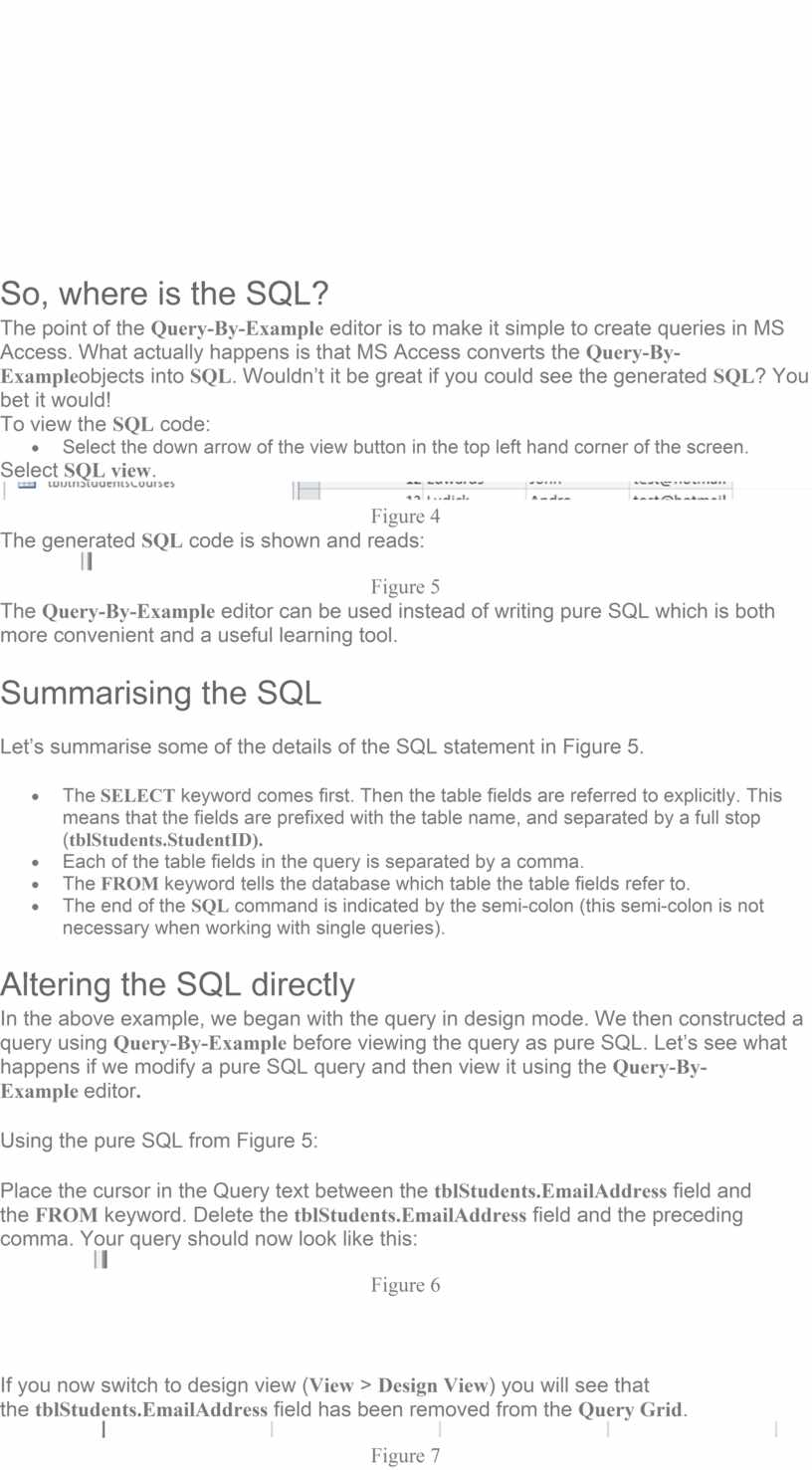 So, where is the SQL? The point of the
