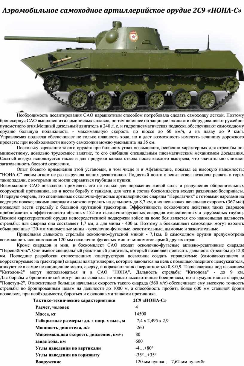 Аэромобильное самоходное артиллерийское орудие 2С9 «НОНА-С»