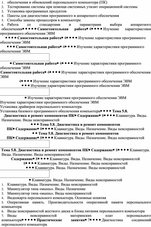 ПК) 2. Тестирование системы при помощи системных утилит операционной системы 3