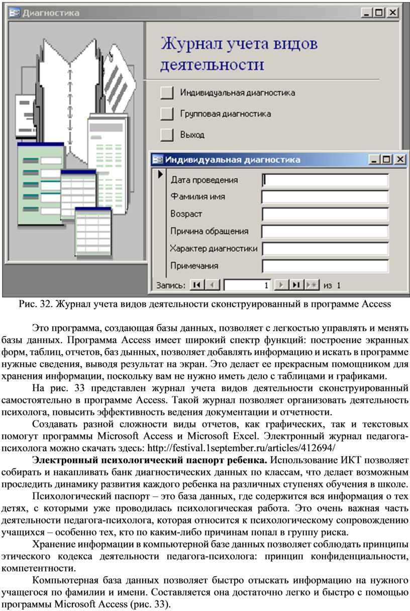 Рис. 32. Журнал учета видов деятельности сконструированный в программе