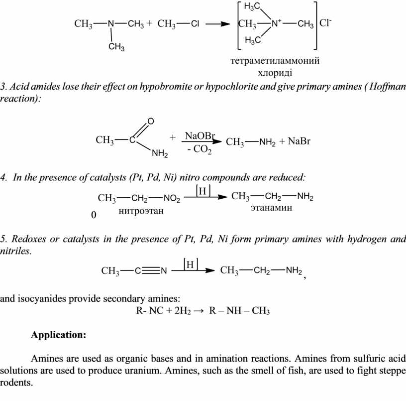 Acid amides lose their effect on hypobromite or hypochlorite and give primary amines (