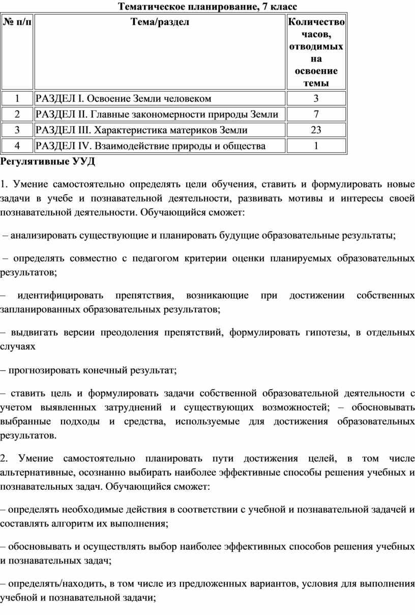 Тематическое планирование, 7 класс № п/п