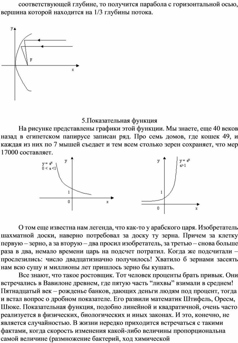 Показательная функция На рисунке представлены графики этой функции