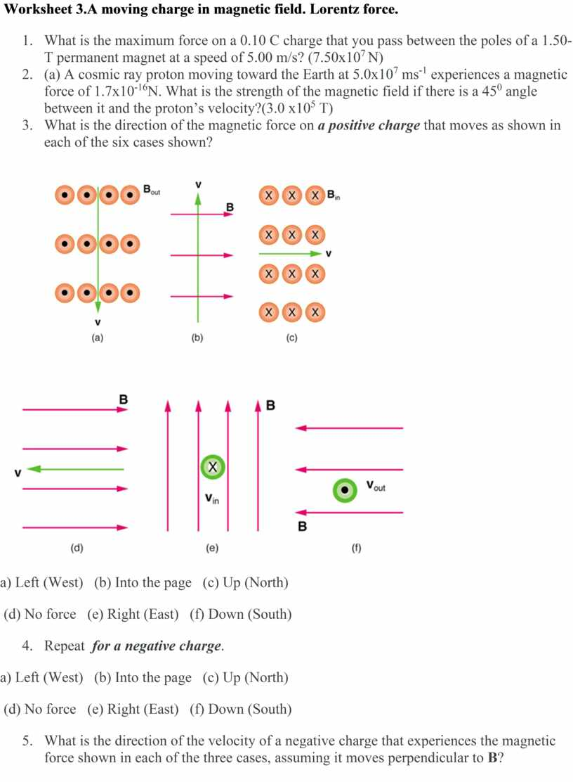 Worksheet 3.A moving charge in magnetic field
