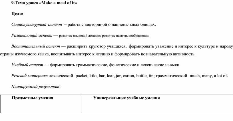Тема урока «Make a meal of it»