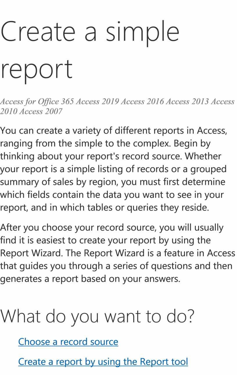 Create a simple report Access for