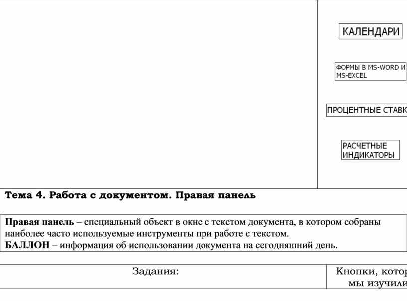 Тема 4. Работа с документом. Правая панель