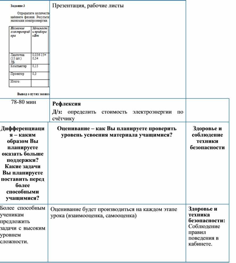 Презентация, рабочие листы 78-80 мин