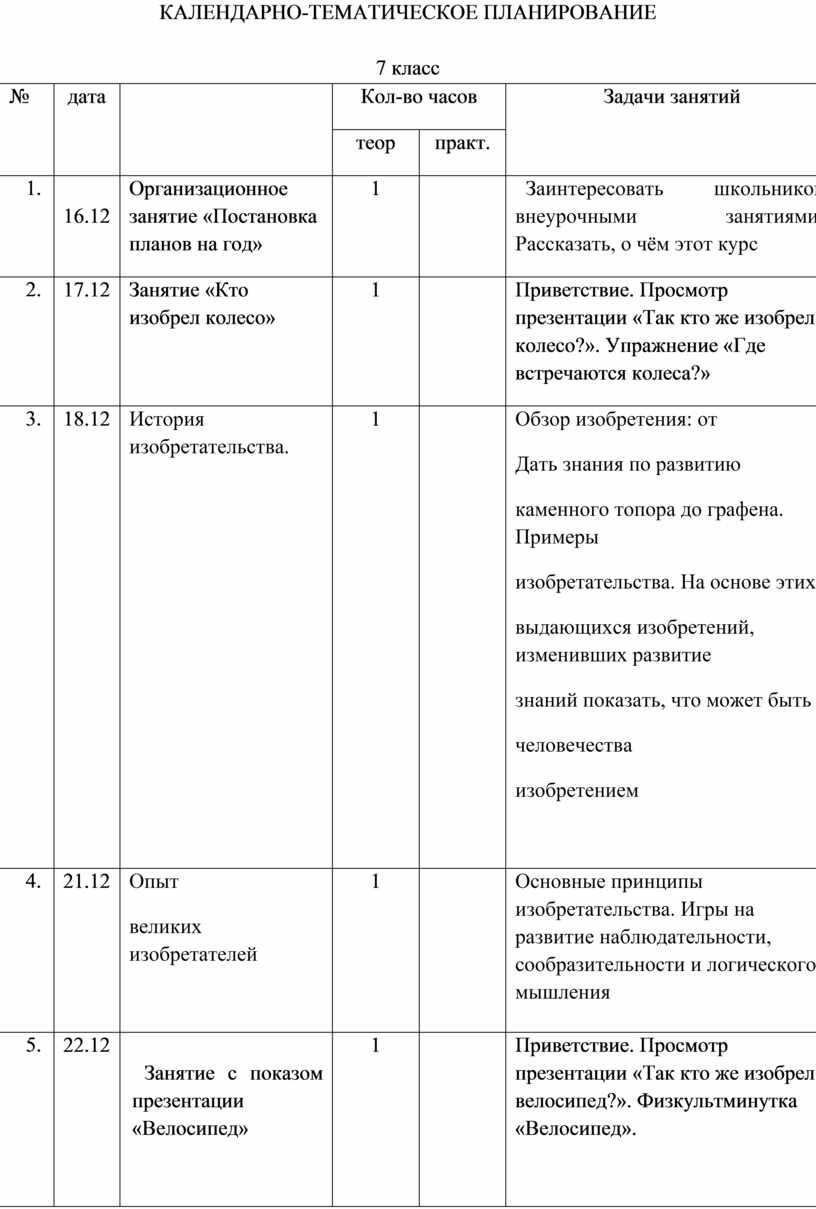 Календарно-ТЕМАТИЧЕСКое планирование 7 класс № дата