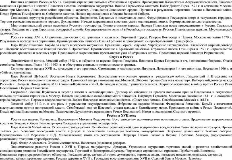 Внешняя политика России в XVI в