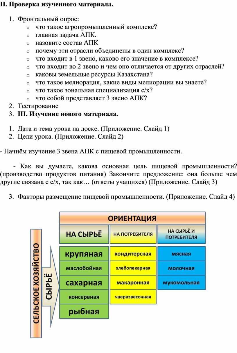 II. Проверка изученного материала