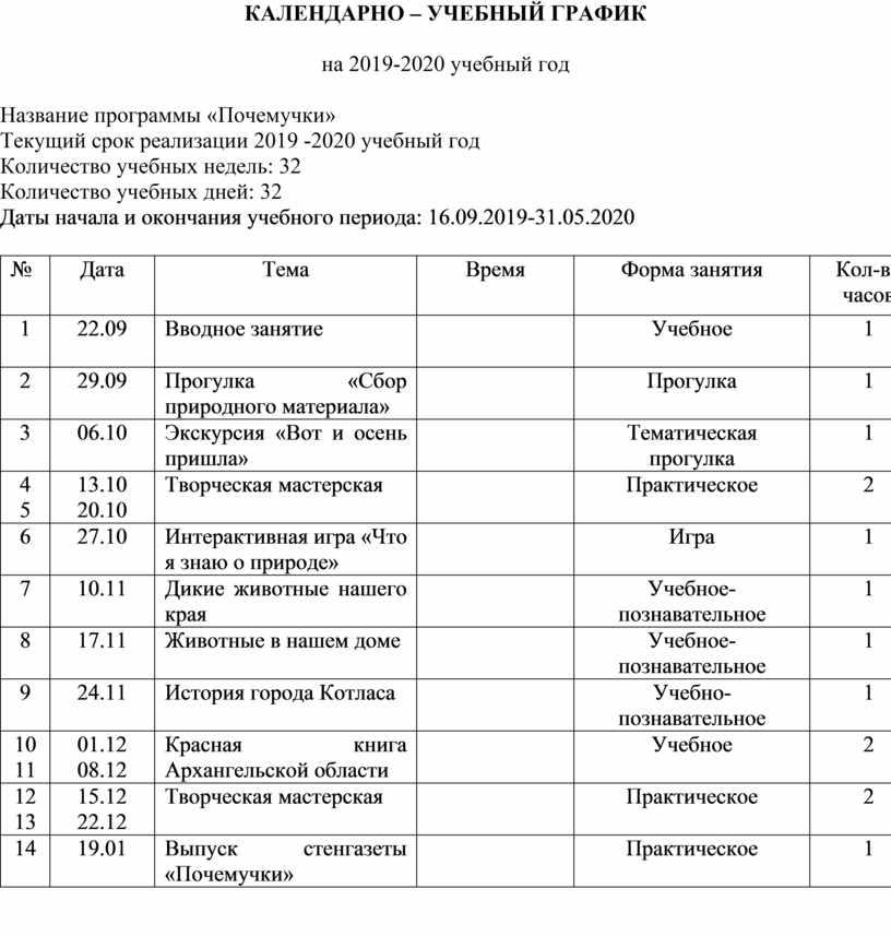КАЛЕНДАРНО – УЧЕБНЫЙ ГРАФИК на 2019-2020 учебный год