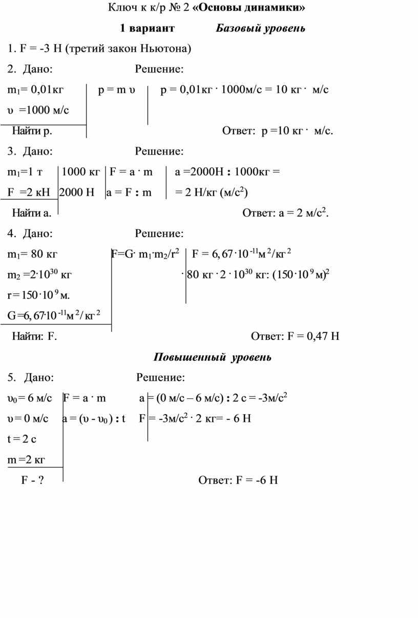 Ключ к к/р № 2 «Основы динамики» 1 вариант