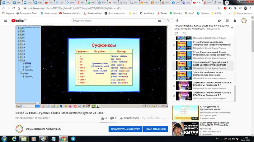 23 час. Суффикс. Русский язык 3 класс. Экспресс курс за 24 часа.