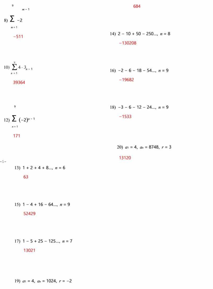 Determine the number of terms n in each geometric series