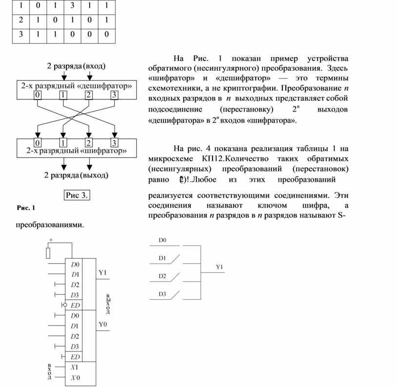 На Рис. 1 показан пример устройства обратимого (несингулярного) преобразования