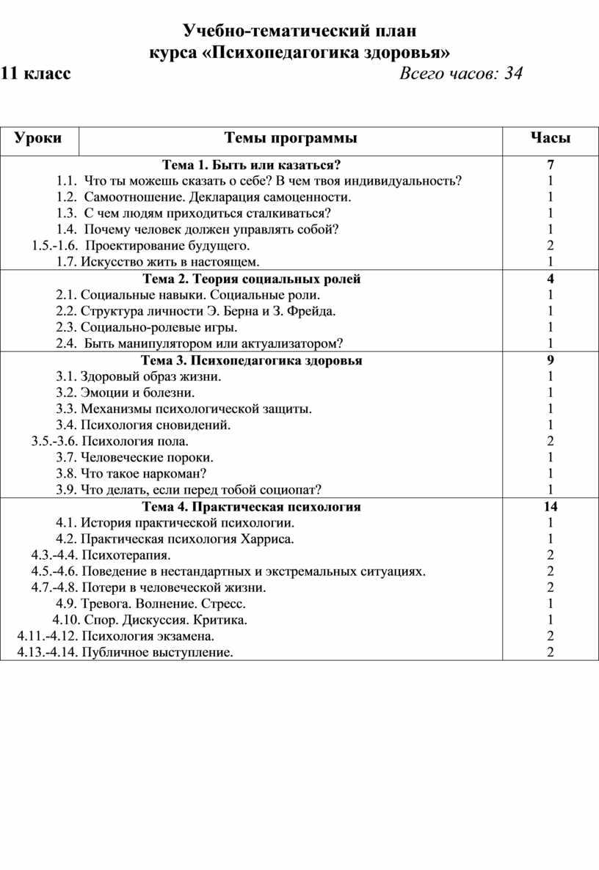 Учебно-тематический план курса «Психопедагогика здоровья» 11 класс