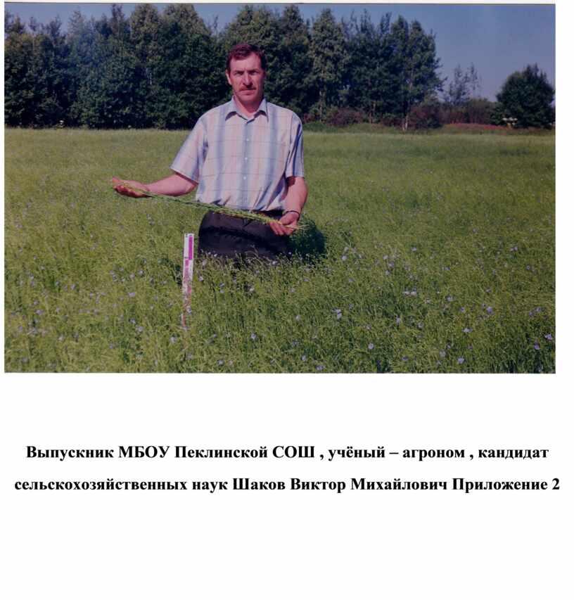 Выпускник МБОУ Пеклинской СОШ , учёный – агроном , кандидат сельскохозяйственных наук