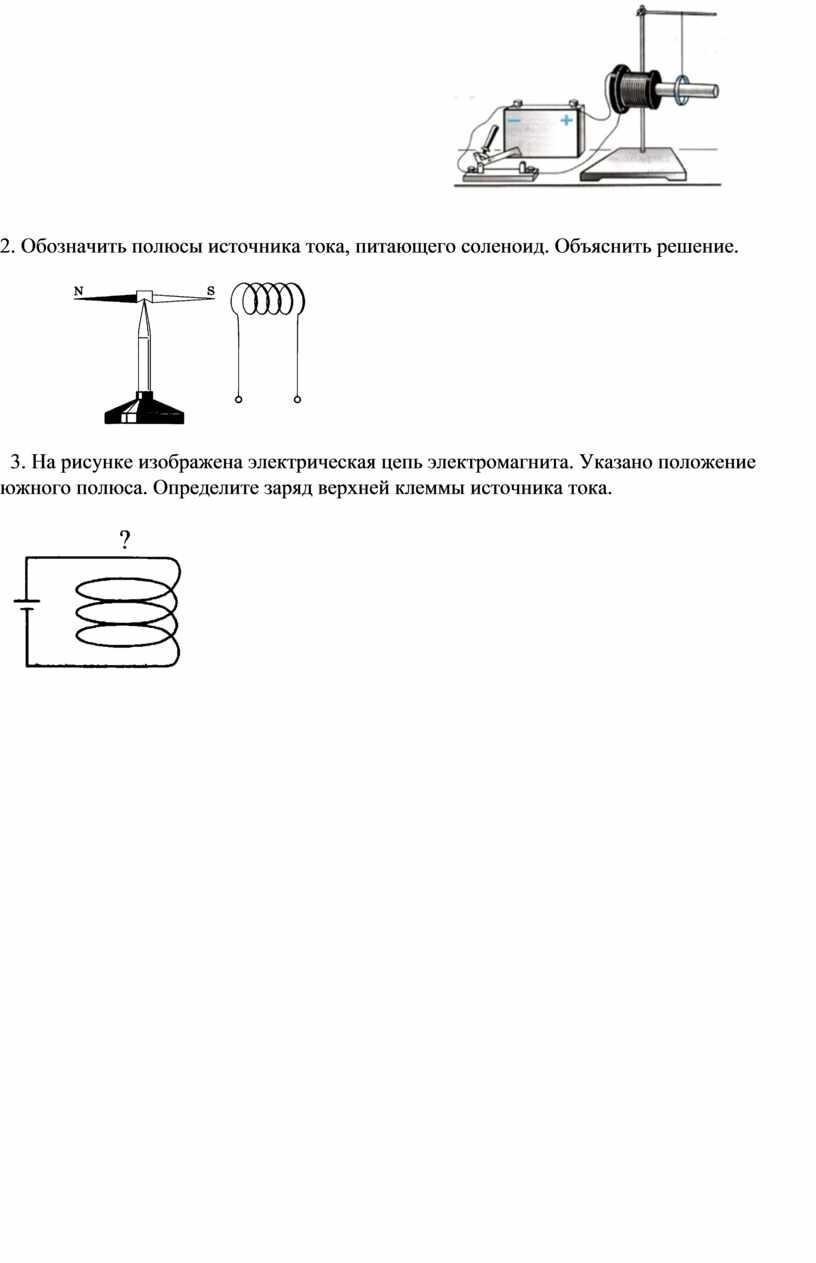 Обозначить полюсы источника тока, питающего соленоид