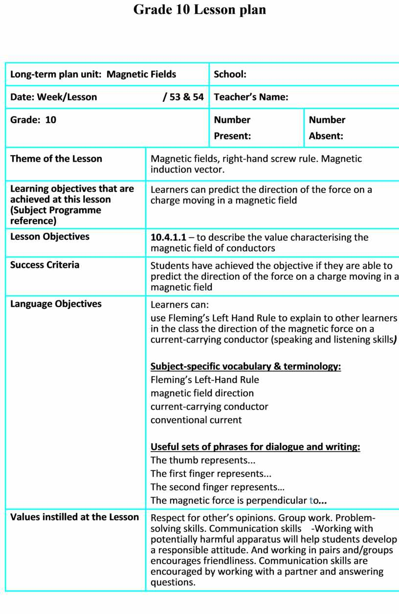 Grade 10 Lesson plan