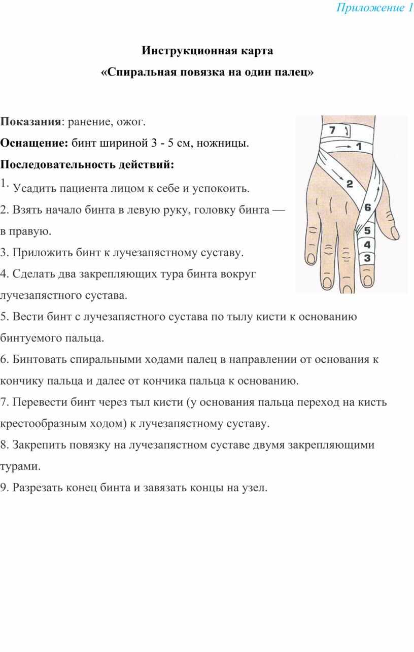 Приложение 1 Инструкционная карта «Спиральная повязка на один палец»