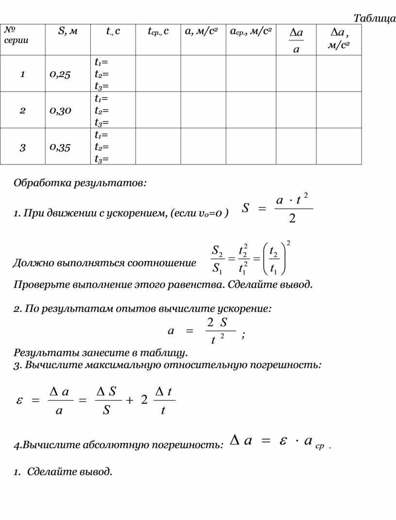 Таблица № серии