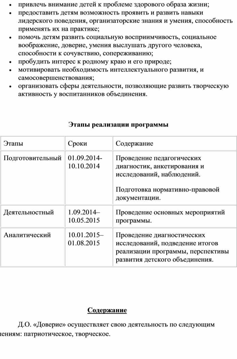Этапы реализации программы