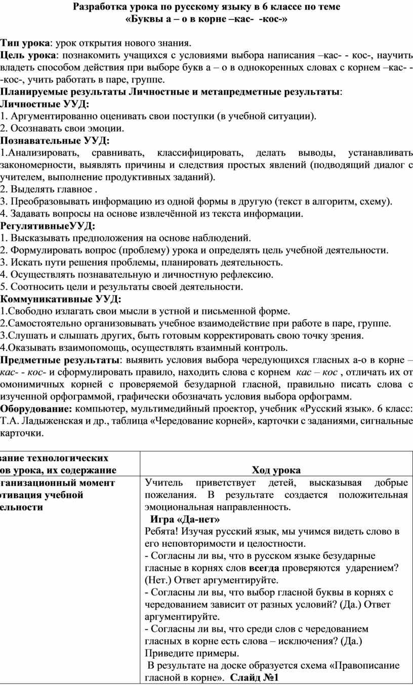 Разработка урока по русскому языку в 6 классе по теме «